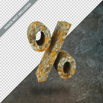 3d render symbolu procentu z izolowanym tłem