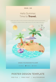 3d render, szablon plakatu hello summer, z ilustracyjnym drzewem kokosowym i parasolową plażą
