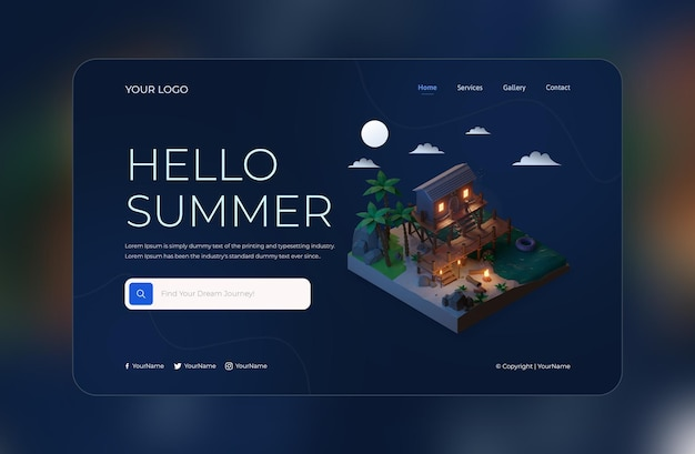 3d render szablonu projektu strony docelowej hello summer