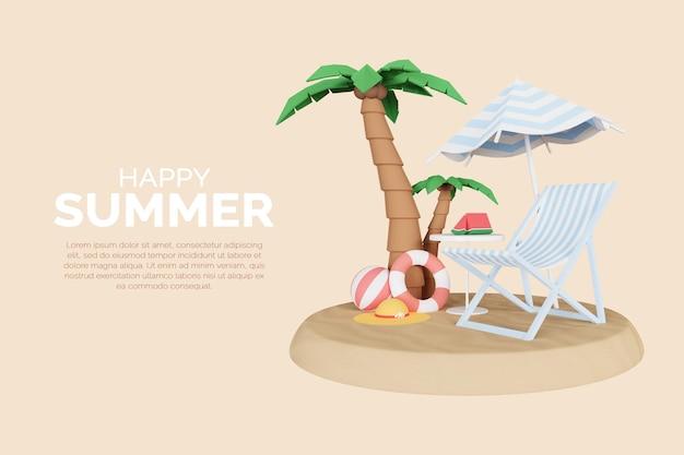 3d render szablonu tła lato