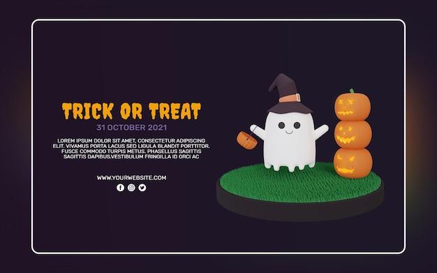 3d render szablonu transparentu halloween party