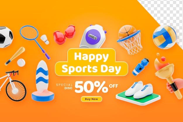 3d render szczęśliwy dzień sportu sprzęt sprzedaż koncepcja banner