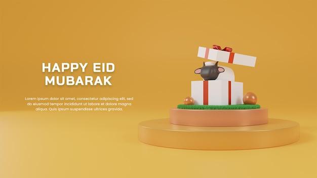 3d render szczęśliwy eid al adha mubarak z owcą w pudełku prezentowym na szablonie projektu strony podium