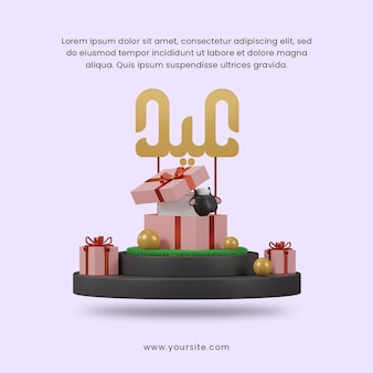 3d render szczęśliwy eid al adha z owcami w pudełku prezentowym na podium szablon postu w mediach społecznościowych