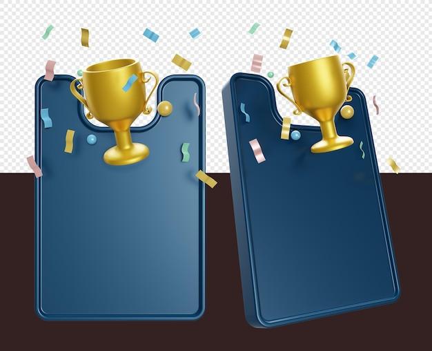 3d render sztandaru ze złotym pucharem lub trofeum zwycięzców