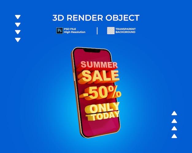 3d render transparentu sprzedaży z izolowanym telefonem