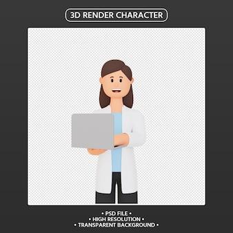 3d render uśmiechnięta kobieta z laptopem