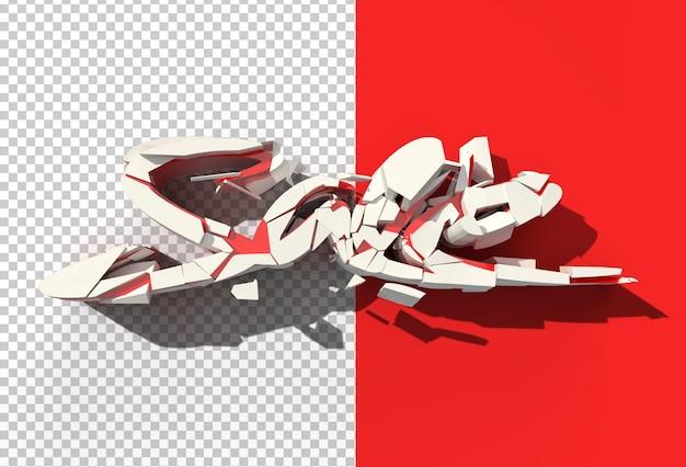 3d render uszkodzony tekst sprzedaży przezroczysty plik psd.