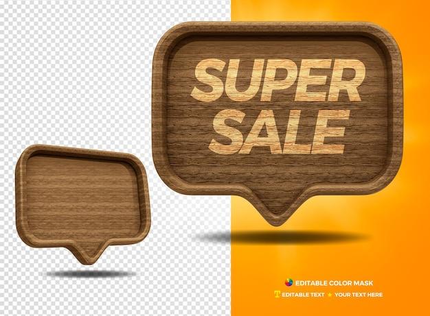 3d render wiadomość balon drewniany super sprzedaż dla kompozycji na białym tle