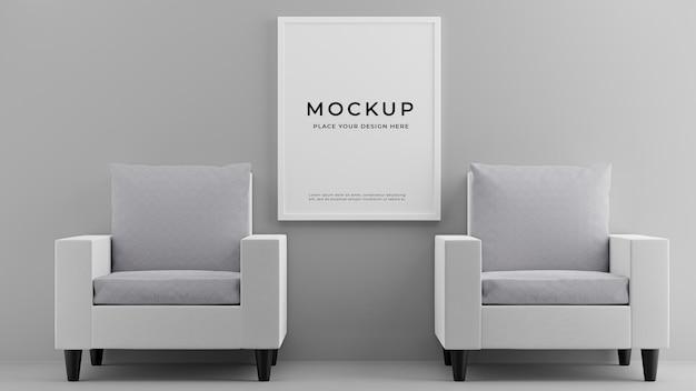3d render wnętrza salonu z makietą sofy ramka na zdjęcia
