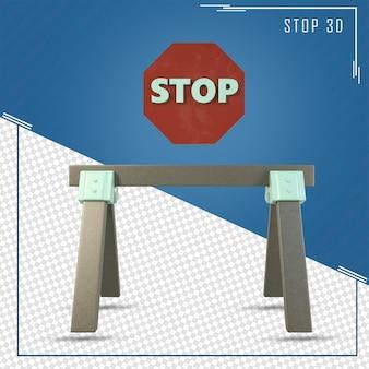 3d render z drogi znak stop