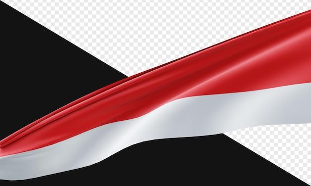 3d render z indonezyjskiej flagi na białym tle