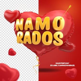 3d render z walentynki w sercu z kampanią na wstążce w brazylii
