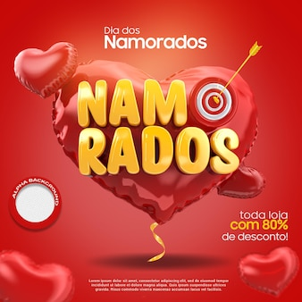 3d render z walentynki w sercu z kampanią wstążki w brazylii
