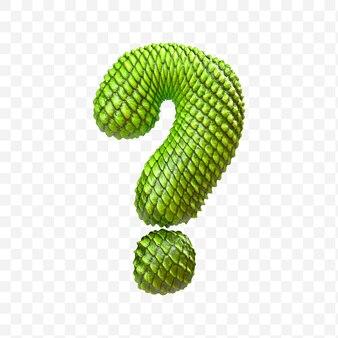 3d render znaku zapytania alfabetu wykonanego z zielonej skóry smoka na białym tle psd
