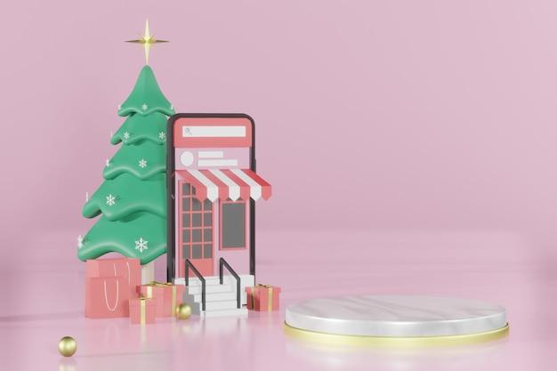 3d rendering boże narodzenie makieta podium do lokowania produktu