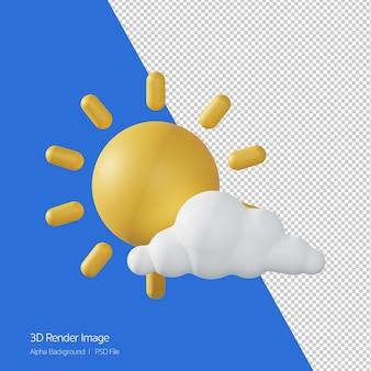 3d rendering prognozy pogody 'mostlysunny,partlysunny na białym.
