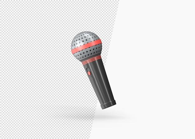 3d rendering realistyczny widok obrotu mikrofonu usta na białym tle