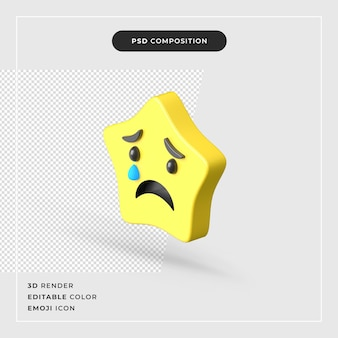 3d rendering smutna gwiazda emoji premium na białym tle