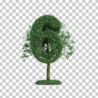 3d rendering zielony drzewo liczba 6