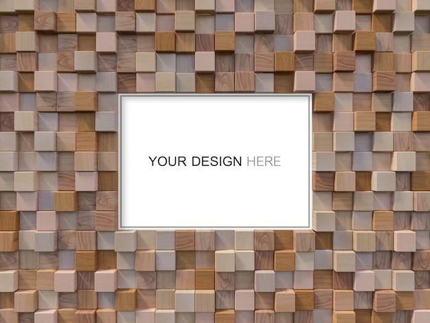 3d renderingu wizerunek kubiczna drewniana ściana