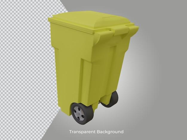 3d renderowana wysokiej jakości przezroczysta ikona kosza na śmieci z tyłu widok z boku
