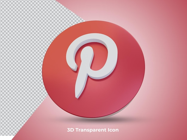 3d renderowane ikony pinteresta z przodu