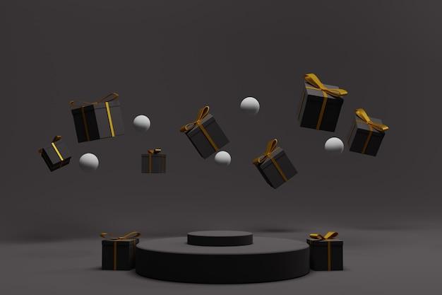 3d renderowane podium na pokaz świąteczny