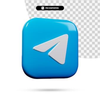 3d renderowania aplikacji logo telegramu na białym tle
