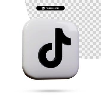 3d renderowania aplikacji logo tiktok na białym tle