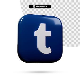 3d renderowania aplikacji logo tumblr na białym tle