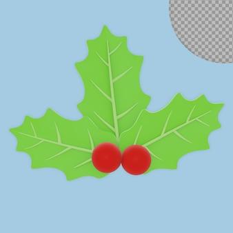 3d renderowania holly christmas plant na białym tle