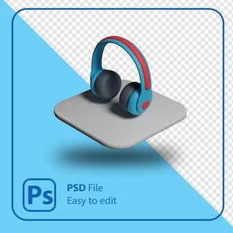 3d renderowania ikona ilustracja na białym tle słuchawek