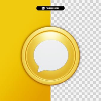 3d renderowania ikona komentarza na złote koło na białym tle