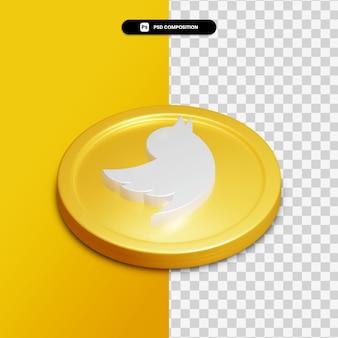 3d renderowania ikona twittera na złotym kółku na białym tle