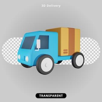 3d renderowania ilustracja ciężarówki dostawczej