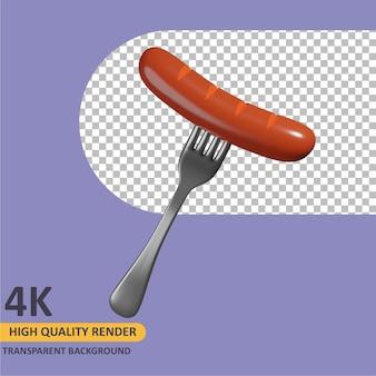 3d renderowania ilustracja kreskówka widelec i kiełbasa modelowania obiektów