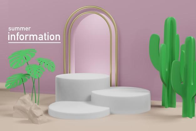 3d renderowania ilustracja letniej prezentacji szablonu na scenie podium.