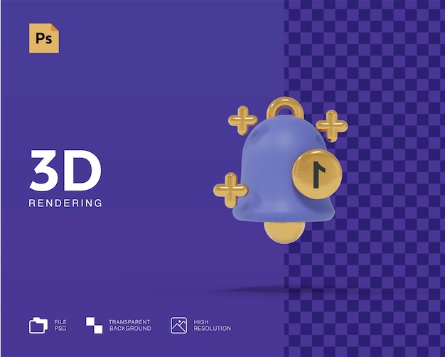 3d renderowania koncepcji ikony powiadomienia