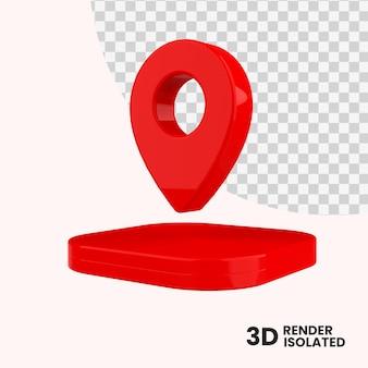 3d renderowania mapy pinezki na białym tle