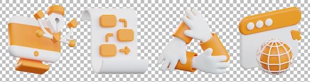 3d renderowania na białym tle różnych obiektów