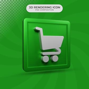3d renderowania projektu ikona wózka tematu e-commerce