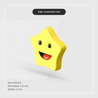 3d renderowania szczęśliwy emoji gwiazda ikona na białym tle
