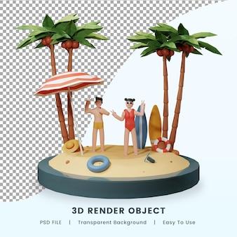 3d renderowanie letniej tropikalnej plaży premium psd