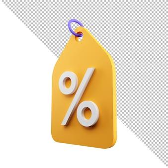3d renderowanie metka z ceną z procentową zniżką wyprzedaż