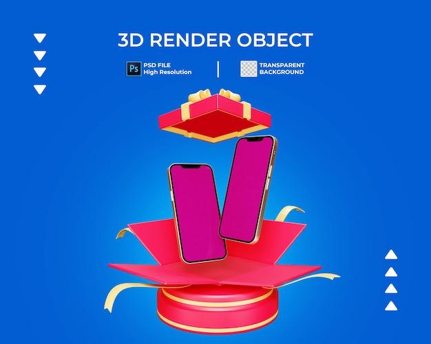 3d renderowanie pudełka z gratisami z telefonem