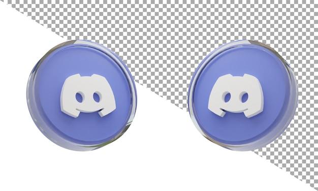 3d renderowanie szkła ikona logo niezgoda izometryczny