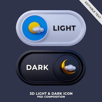 3d renderowanie trybu ciemnego i interfejsu przełącznika trybu światła