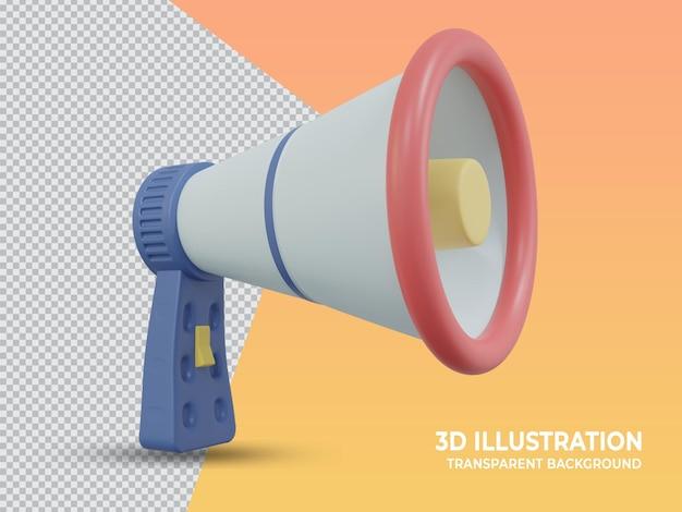 3d renderowany przezroczysty ręczny mikrofon marketingowy