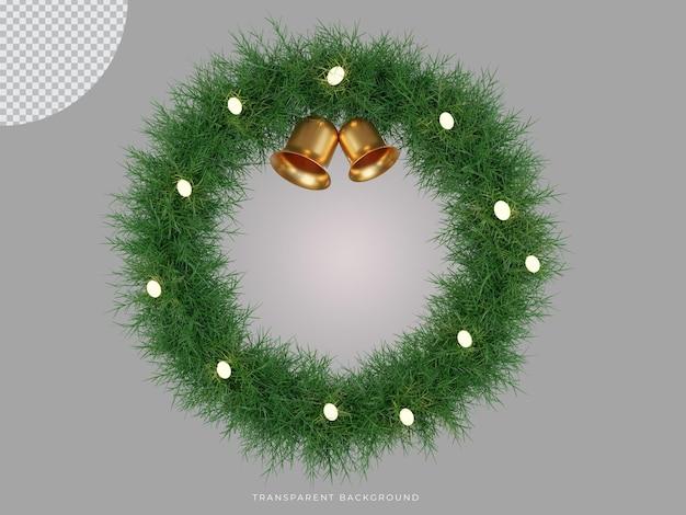 3d renderowany świąteczny wieniec i dzwonek z przezroczystym tłem